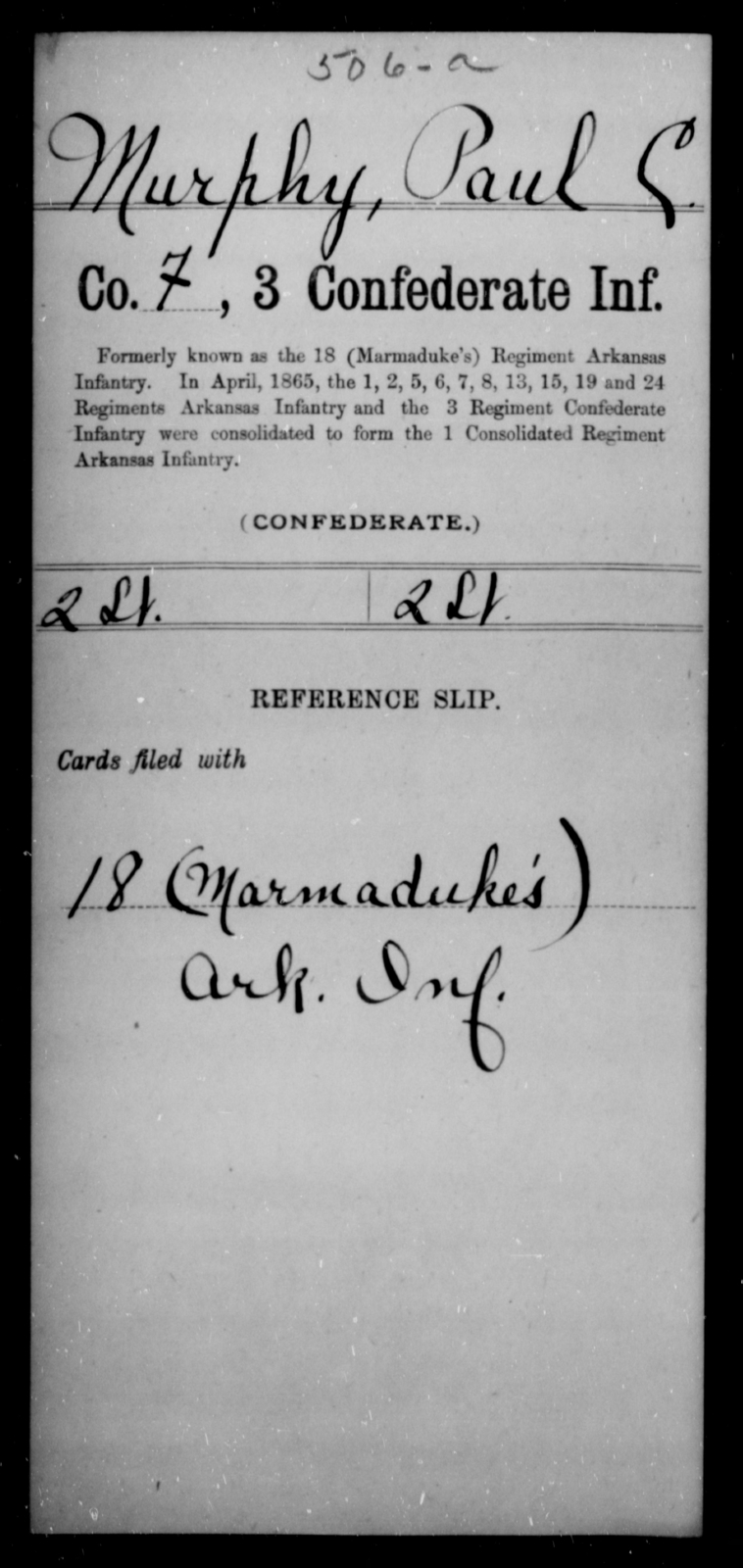 Murphy, Paul C - Age [Blank], Year: [Blank] - Third Confederate Infantry, E-W - Raised Directly by the Confederate Government