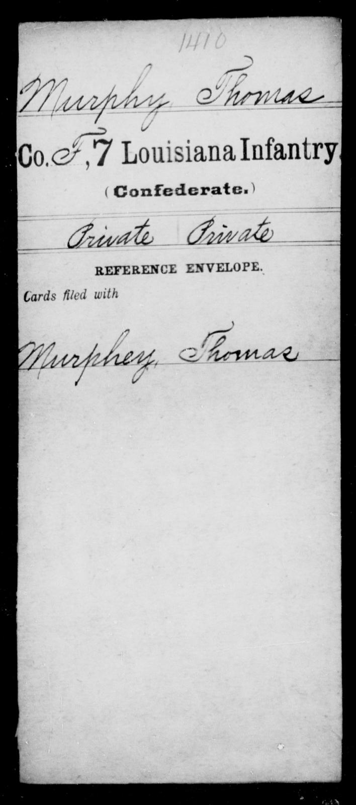 Murphy, Thomas - Age [Blank], Year: [Blank] - Seventh Infantry, Mu - Re - Louisiana