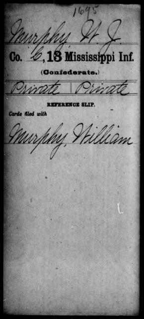 Murphy, W J - Age: [Blank], Year: [BLANK] - Mississippi C, Me-Pa
