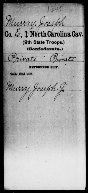 Murray, Joseph - First Cavalry (Ninth State Troops)