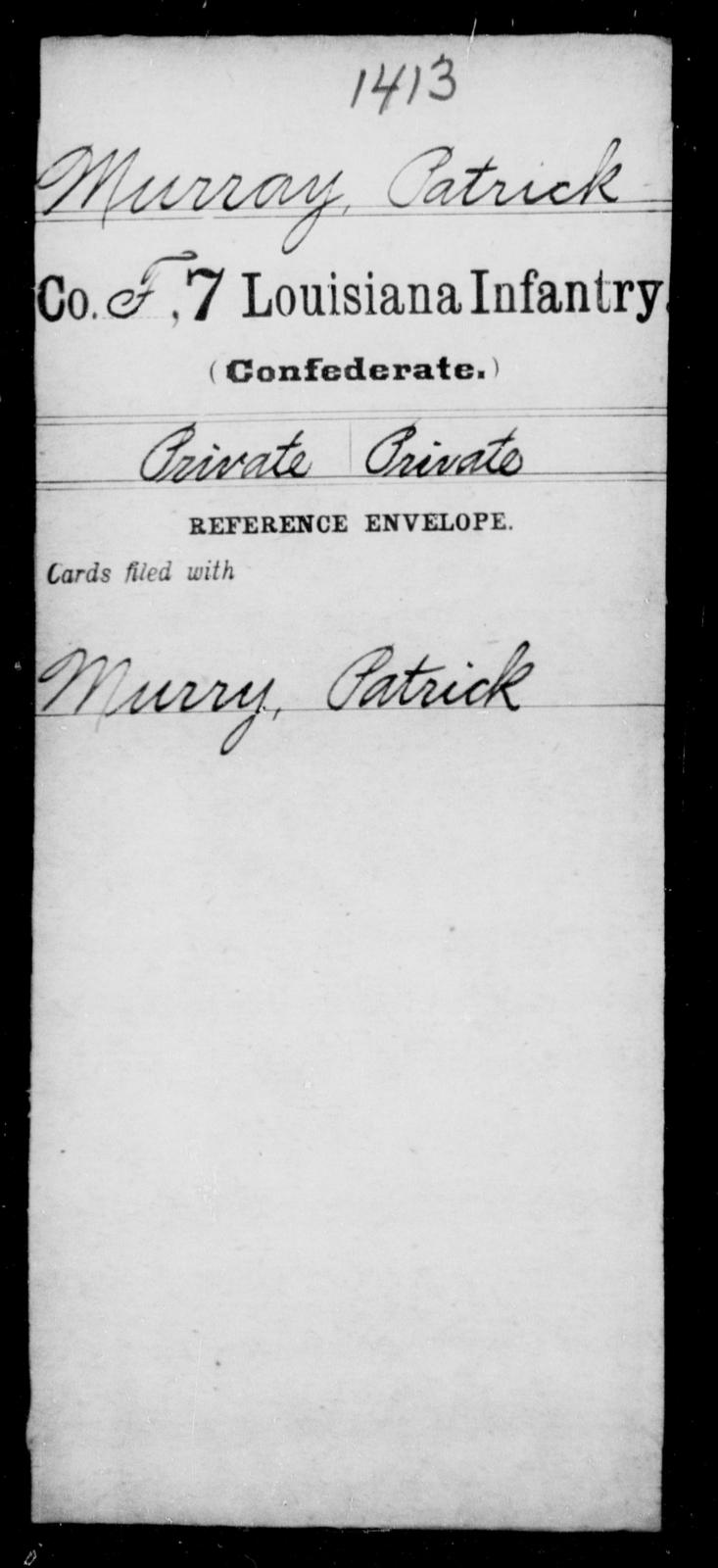 Murray, Patrick - Age [Blank], Year: [Blank] - Seventh Infantry, Mu - Re - Louisiana