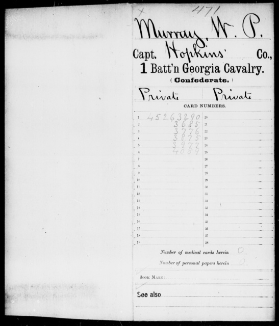 Murray, W P - 1st Battalion, Cavalry