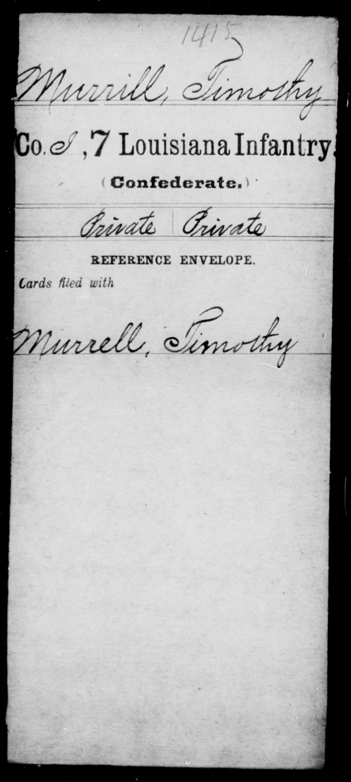 Murrill, Timothy - Age [Blank], Year: [Blank] - Seventh Infantry, Mu - Re - Louisiana