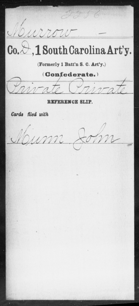 Murrow, [BLANK] - Age: [Blank], Year: [BLANK] - South Carolina First Artillery Mi-P