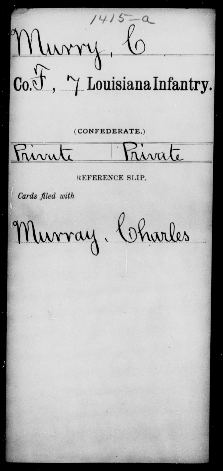 Murry, C - Age [Blank], Year: [Blank] - Seventh Infantry, Mu - Re - Louisiana