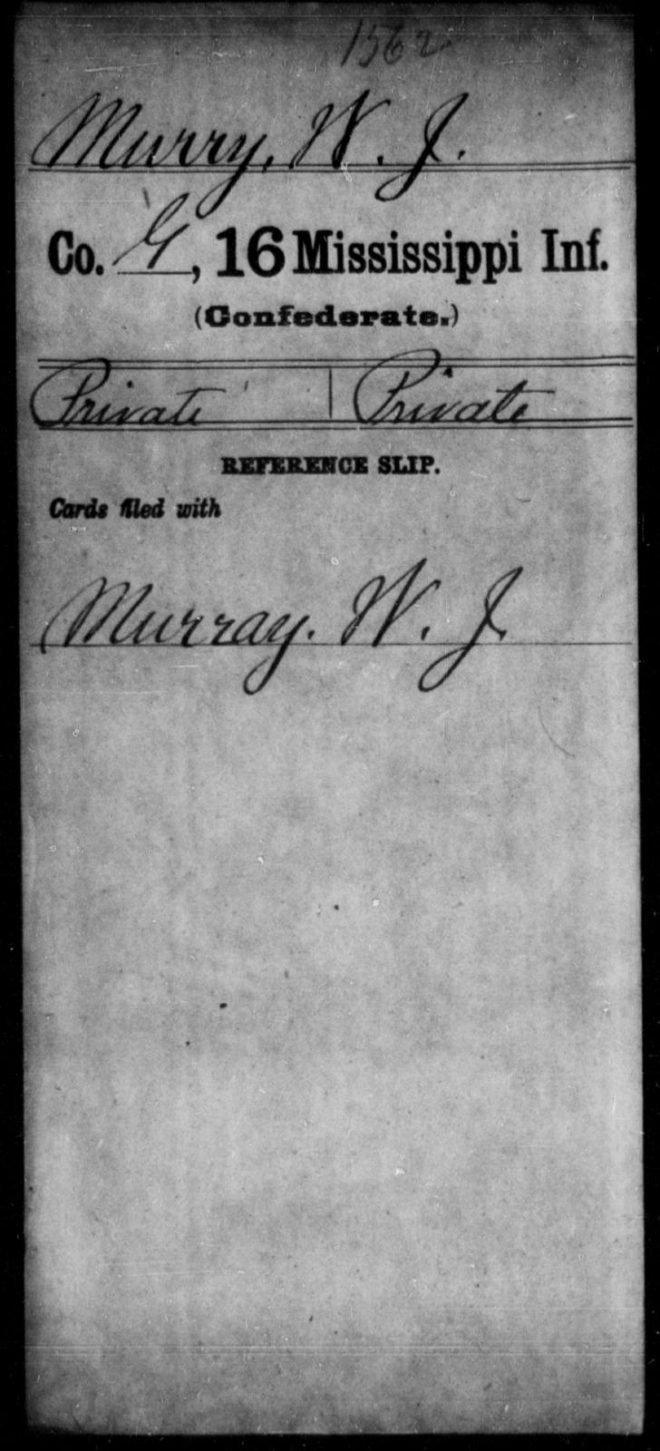 Murry, W J - Age: [Blank], Year: [BLANK] - Mississippi Sixteenth Infantry, A, Mc-My