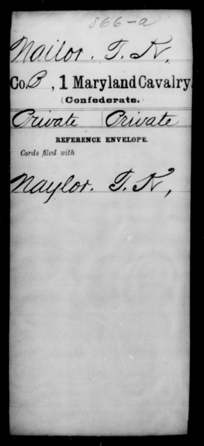 Nailor, T K - Age [Blank], Year: [Blank] - First Cavalry, Lo-Q - Maryland