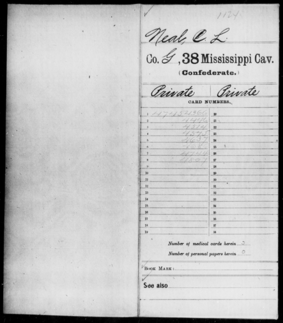 Neal, C J - Age: 20, Year: 1862 - Mississippi Thirty-eighth Cavalry, I-P