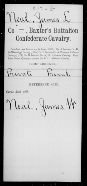 Neal, James L - Age [Blank], Year: [Blank] - Twentieth Confederate Cavalry, N-YAND Baxter's Battalion, Confederate Cavalry - Raised Directly by the Confederate Government