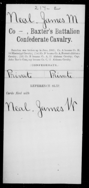 Neal, James M - Age [Blank], Year: [Blank] - Twentieth Confederate Cavalry, N-YAND Baxter's Battalion, Confederate Cavalry - Raised Directly by the Confederate Government