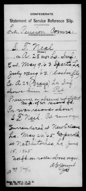 Neal, S T - Age [Blank], Year: [Blank] - Twenty-eighth (Gray's) Infantry, M - P - Louisiana