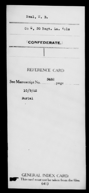 Neal, W B - Age [Blank], Year: [Blank] - Twenty-eighth (Gray's) Infantry, M - P - Louisiana