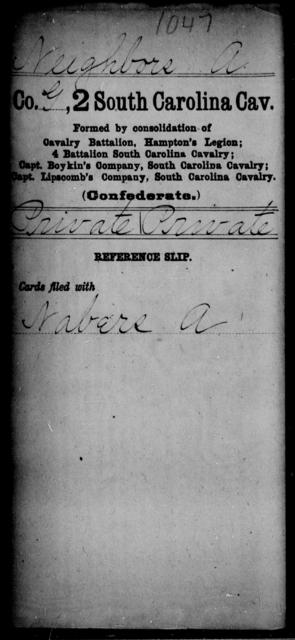 Neighbors, A - Age: [Blank], Year: [BLANK] - South Carolina Second Cavalry N-S