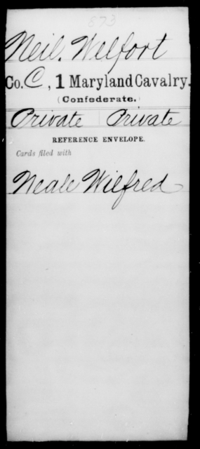 Neil, Welfort - Age [Blank], Year: [Blank] - First Cavalry, Lo-Q - Maryland