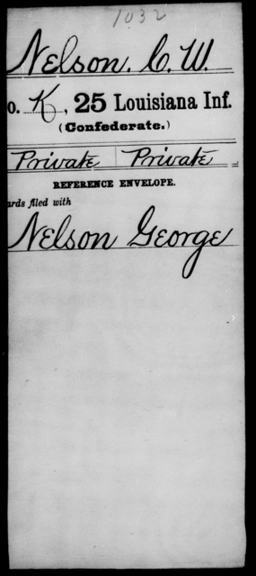 Nelson, C W - Age [Blank], Year: [Blank] - Twenty-fifth Infantry, M - Q - Louisiana