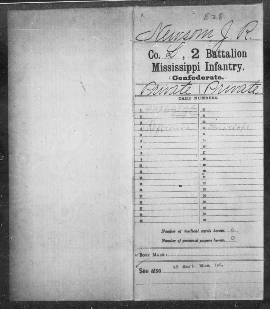Newsom, J R - Age: [Blank], Year: [BLANK] - Mississippi Second Battalion, Infantry, A-P