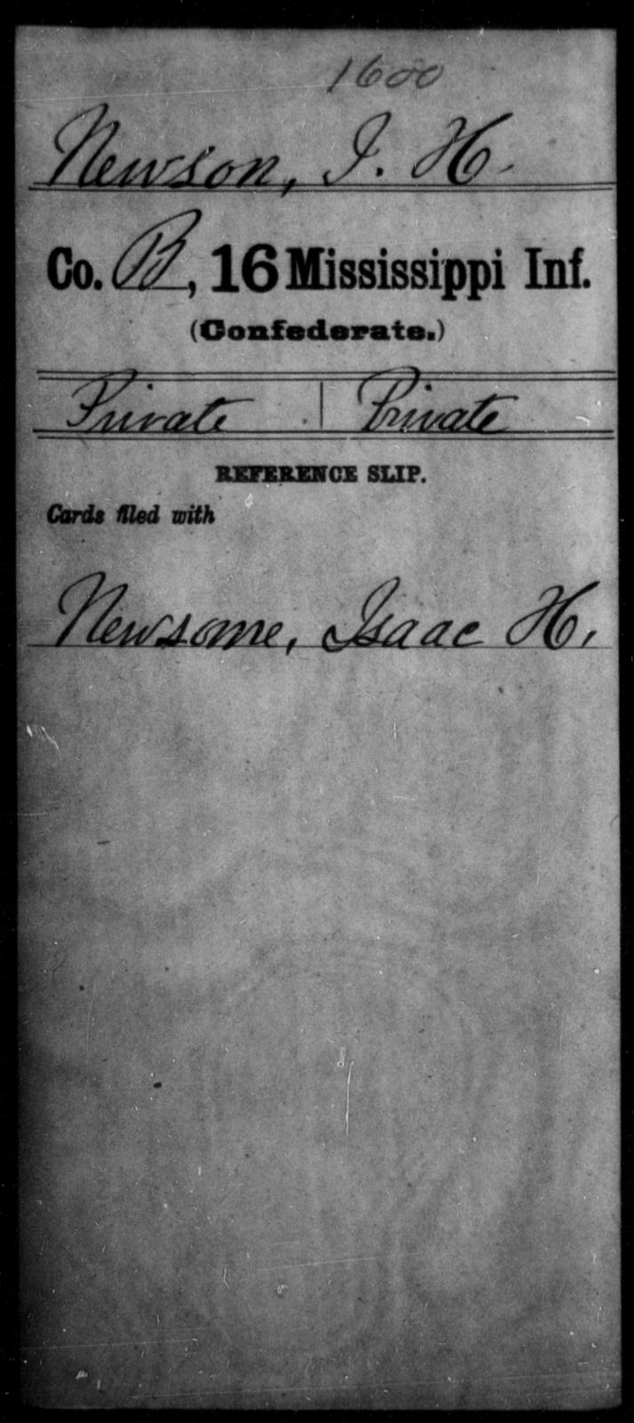 Newson, I H - Age: [Blank], Year: [BLANK] - Mississippi Sixteenth Infantry, A, N-Ri