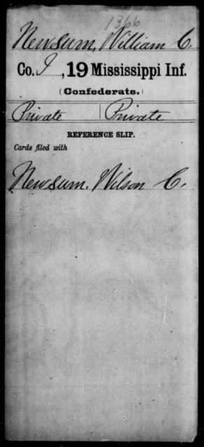 Newsum, William C - Age: [Blank], Year: [BLANK] - Mississippi Nineteenth Infantry, Mc-N