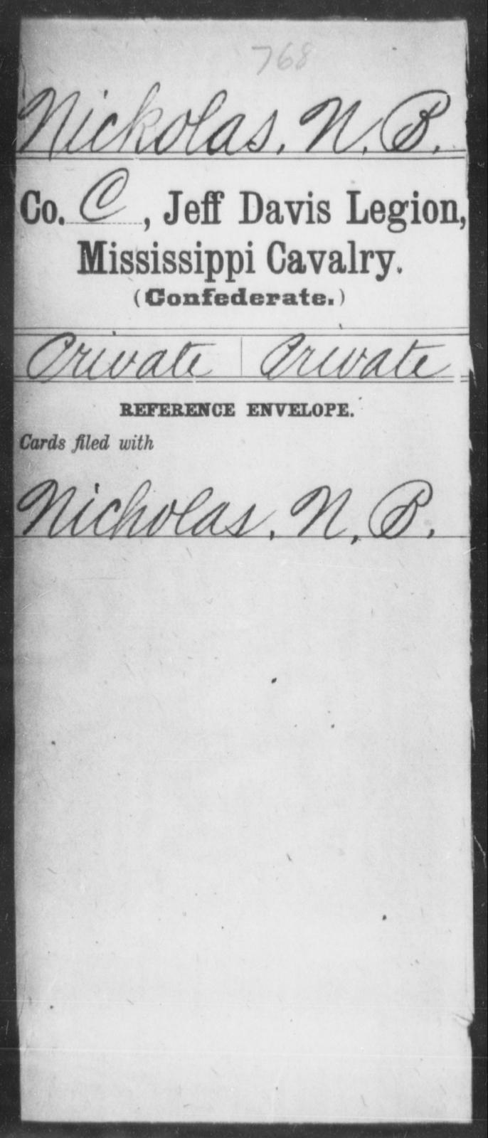 Nickolas, N B - Age: [Blank], Year: [BLANK] - Mississippi Jeff Davis Legion, Cavalry, N-Sp