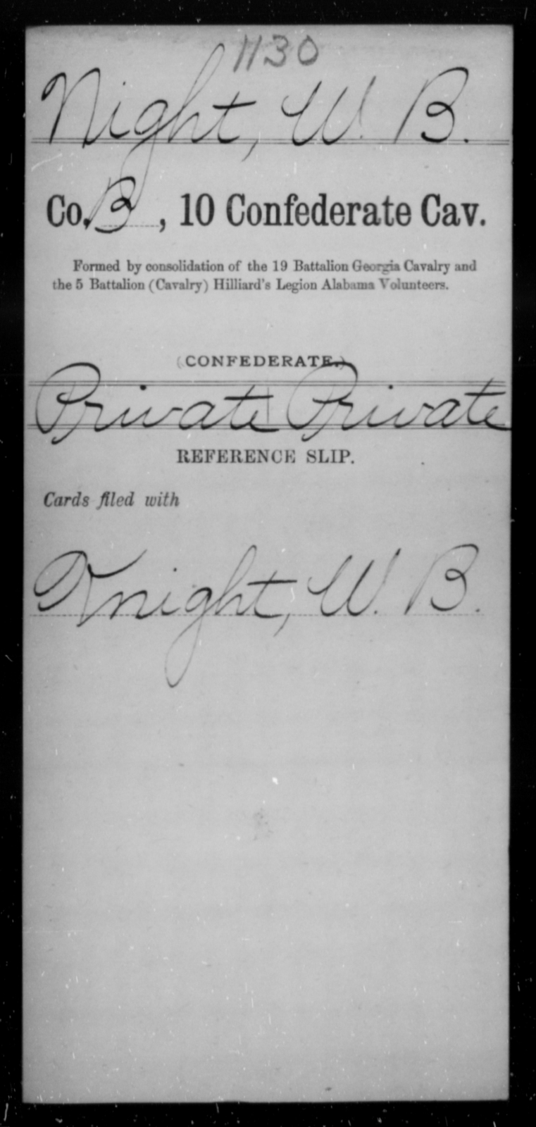 Night, W B - Age [Blank], Year: [Blank] - Tenth Confederate Cavalry, L-P - Raised Directly by the Confederate Government