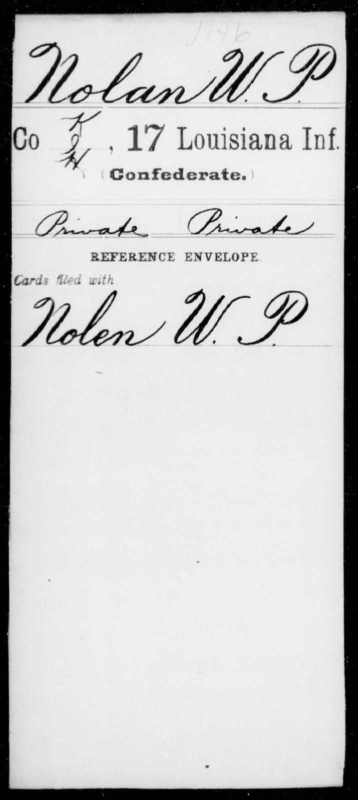 Nolan, W P - Age [Blank], Year: [Blank] - Seventeenth Infantry, Mi - Ri - Louisiana