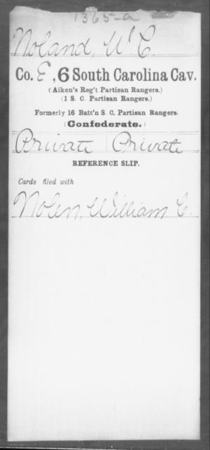 Noland, W C - Age: [Blank], Year: [BLANK] - South Carolina Sixth Cavalry Me-Se