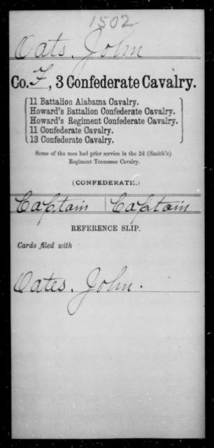 Oats, John - Age [Blank], Year: [Blank] - Third Confederate Cavalry, O-S - Raised Directly by the Confederate Government