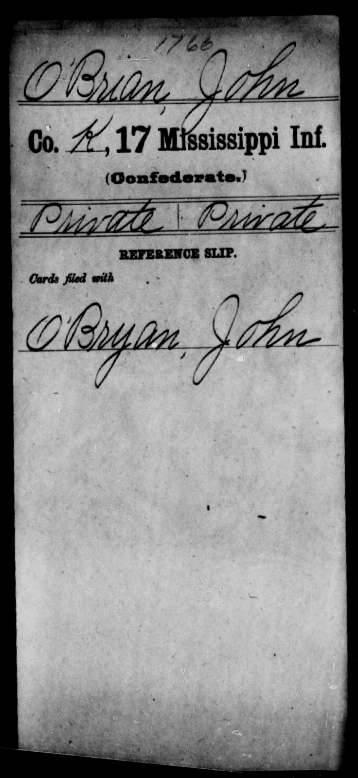 O'Brian, John - Age: [Blank], Year: [BLANK] - Mississippi Seventeenth Infantry, Mo-Pa