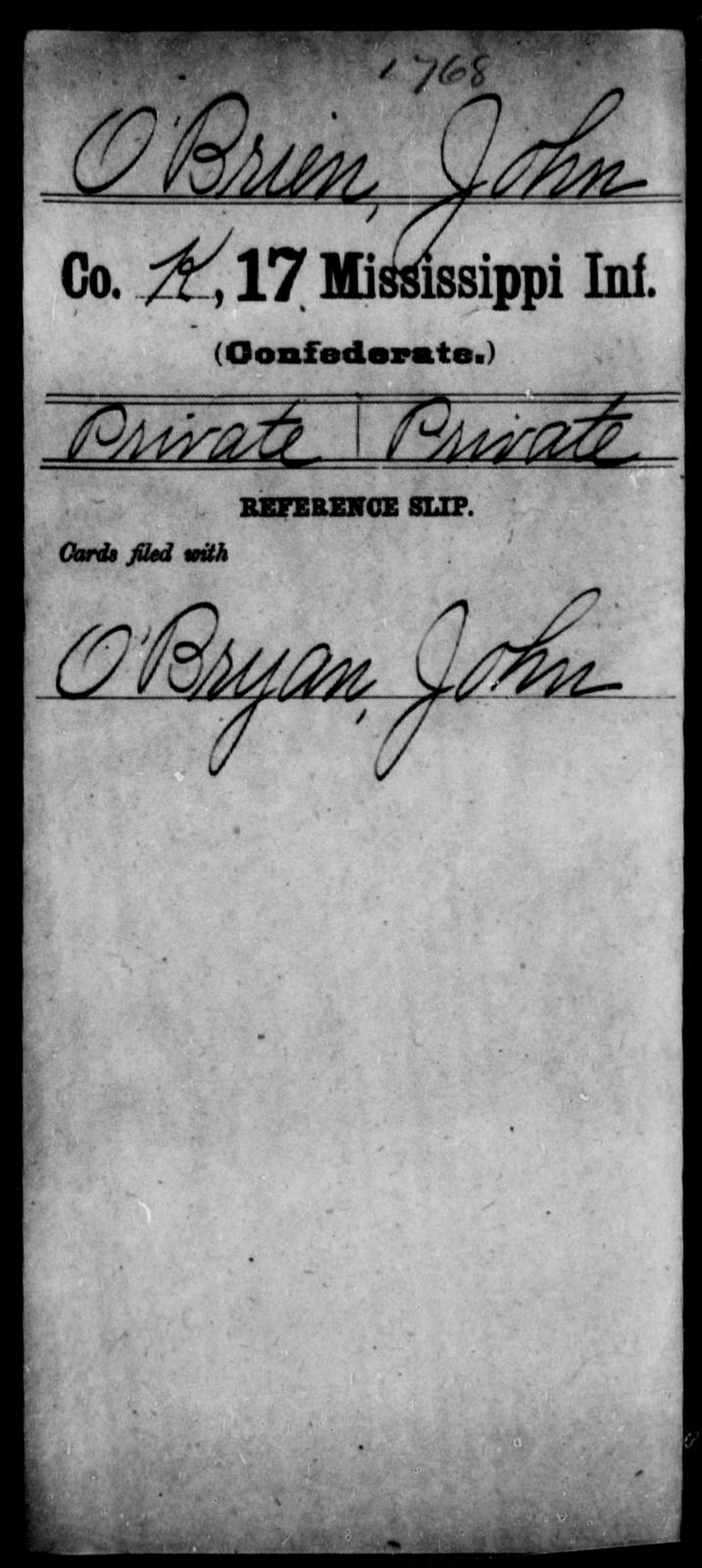 O'Brien, John - Age: [Blank], Year: [BLANK] - Mississippi Seventeenth Infantry, Mo-Pa