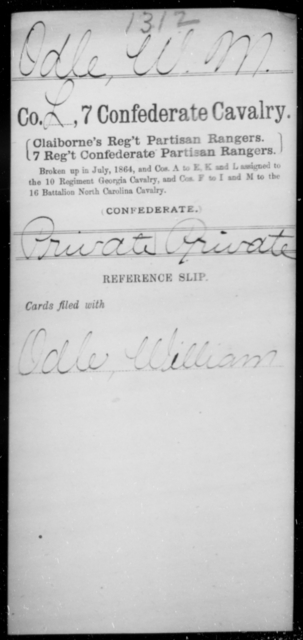 Odle, W M - Age [Blank], Year: [Blank] - Seventh Confederate Cavalry, L-Pa - Raised Directly by the Confederate Government