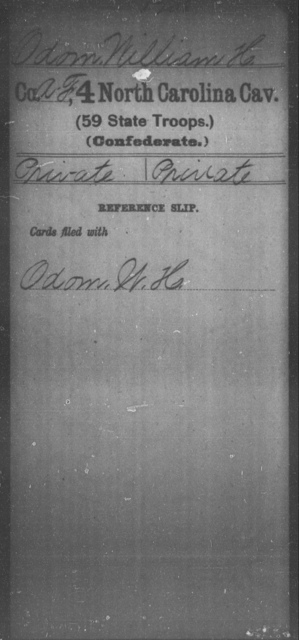 Odom, William H - Fourth Cavalry (59th State Troops)