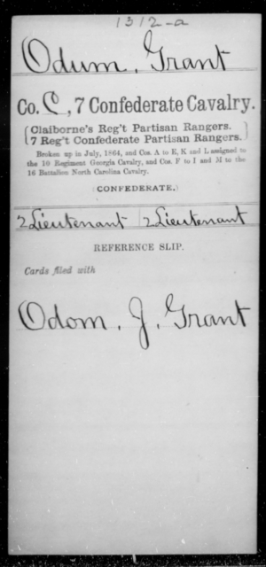 Odum, Grant - Age [Blank], Year: [Blank] - Seventh Confederate Cavalry, L-Pa - Raised Directly by the Confederate Government