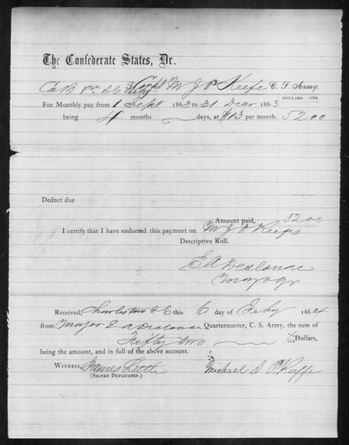O'Keeffe, Michael J - Age: [Blank], Year: 1862 - South Carolina First Artillery Mi-P
