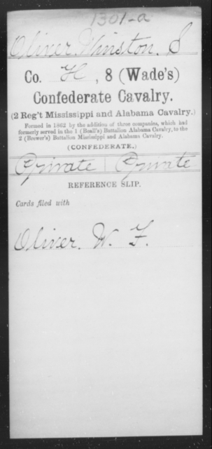Oliver, Winston S - Age [Blank], Year: [Blank] - Eighth Confederate Cavalry, L-R - Raised Directly by the Confederate Government