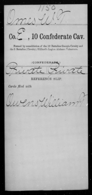 Omes, W T - Age [Blank], Year: [Blank] - Tenth Confederate Cavalry, L-P - Raised Directly by the Confederate Government