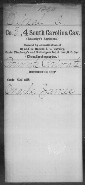O'Neal, I - Age: [Blank], Year: [BLANK] - South Carolina Fourth Cavalry M-O