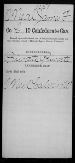 O'Neal, James F - Age [Blank], Year: [Blank] - Tenth Confederate Cavalry, L-P - Raised Directly by the Confederate Government
