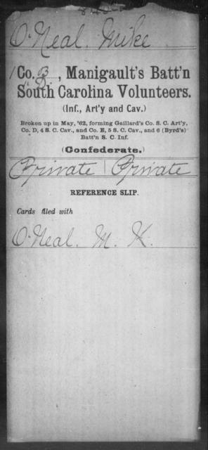 O'Neal, Mike - Age: [Blank], Year: [BLANK] - South Carolina Manigault's Battalion, Artillery Mi-Si