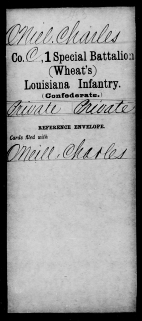 Oniel, Charles - Age [Blank], Year: [Blank] - First (Wheat's) Special Battalion, Infantry, J - Y - Louisiana