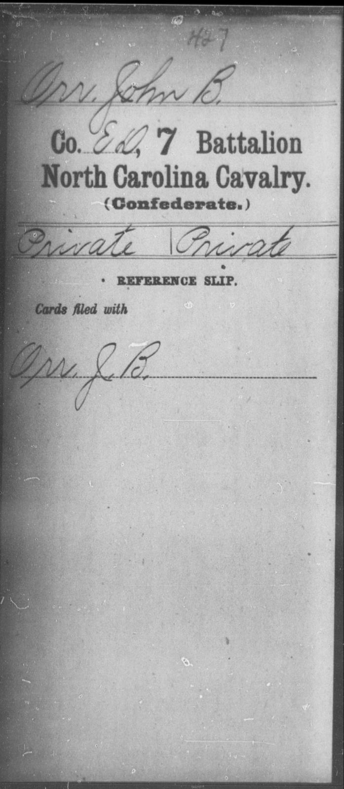 Orr, John B - Seventh Battalion, Cavalry