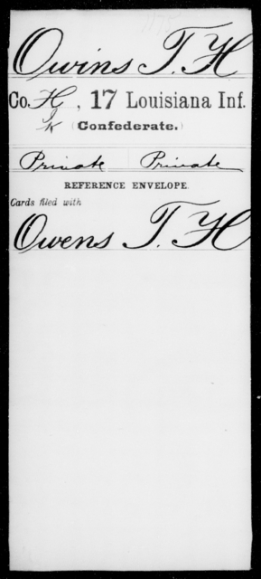 Owins, T H - Age [Blank], Year: [Blank] - Seventeenth Infantry, Mi - Ri - Louisiana