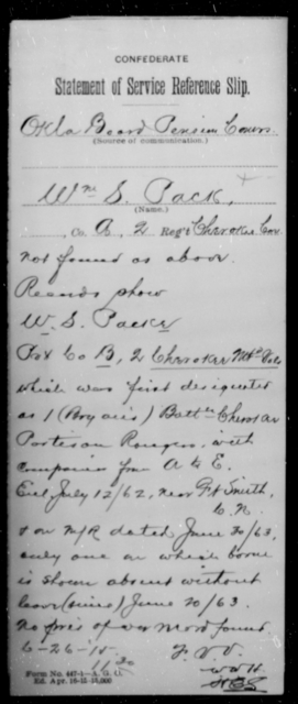 Packe, Wm S - Age [Blank], Year: [Blank] - Second Cherokee Mounted Volunteers - Raised Directly by the Confederate Government
