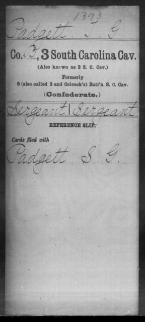 Padgett, T G - Age: [Blank], Year: [BLANK] - South Carolina Third Cavalry N-R