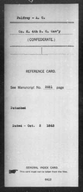 Palfrey, A C - Age: [Blank], Year: [BLANK] - South Carolina Fourth Cavalry P-Sm