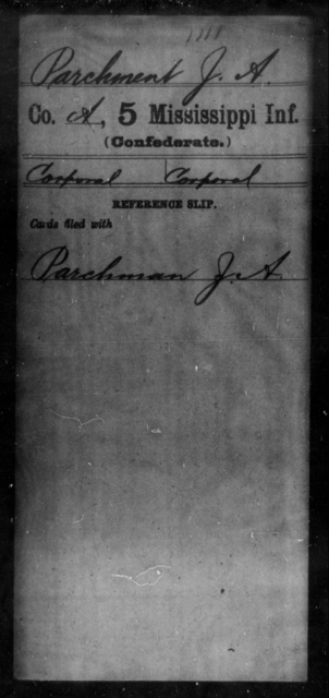 Parchment, J A - Age: [Blank], Year: [BLANK] - Mississippi Fifth Infantry, Me-R