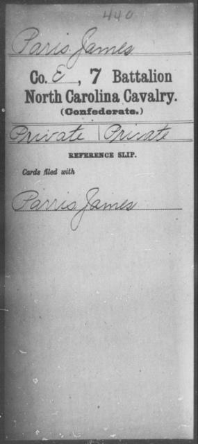 Paris, James - Seventh Battalion, Cavalry
