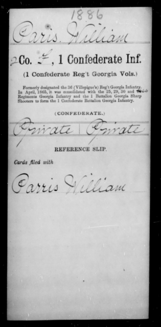 Paris, Willam - Age [Blank], Year: [Blank] - First Confederate Infantry, N-Ri - Raised Directly by the Confederate Government