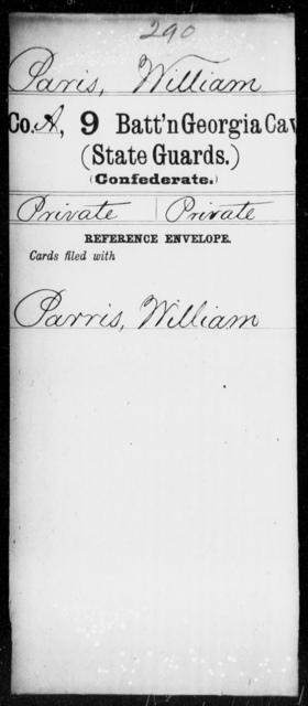 Paris, William - 8th Battalion, Cavalry (State Guards) AND 9th Battalion, Cavalry (State Guards)