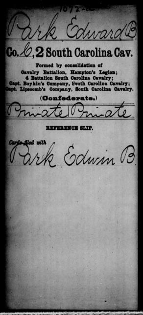 Park, Edward B - Age: [Blank], Year: [BLANK] - South Carolina Second Cavalry N-S