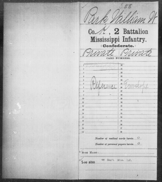 Park, William W - Age: [Blank], Year: [BLANK] - Mississippi Second Battalion, Infantry, A-P